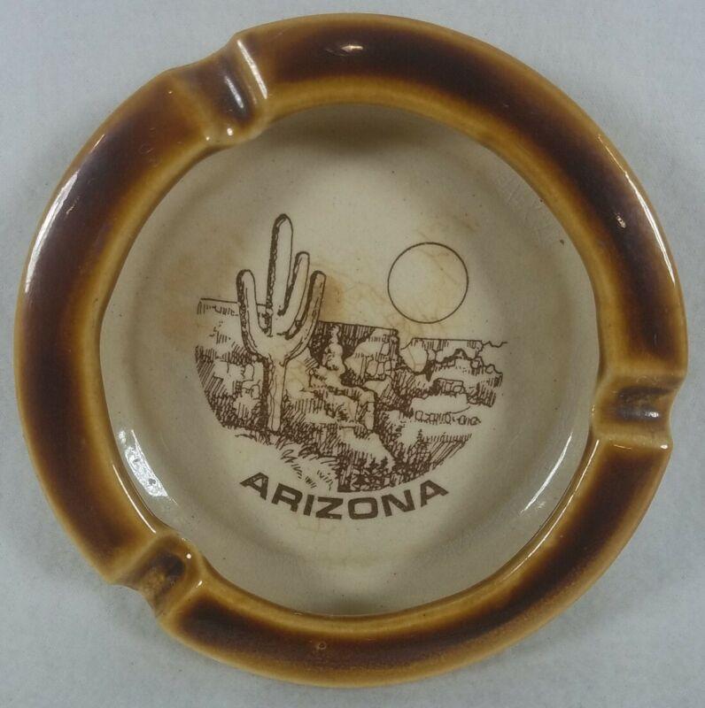 "Vintage Arizona Ceramic Ashtray Sky Chefs 5"" Diameter Tan Brown No Chips/Cracks!"
