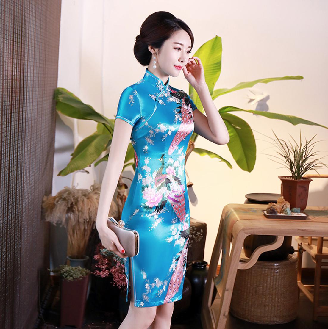 details about neu luxuriös blau satin phoenix chinesisch kurz kleid  cheongsam qipao lcdress85