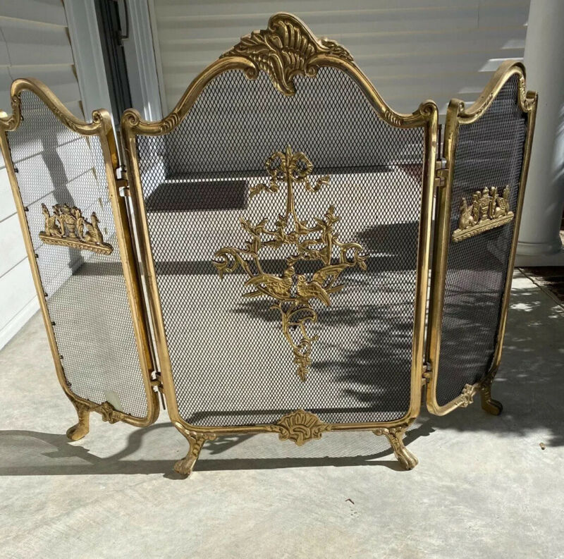 Vintage Ornate Brass Claw Foot French Provincial Victorian Fireplace Screen