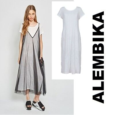 ALEMBIKA  D862 Viscose Jersey Long  SIMPLE TEE DRESS  A-Line  SPRING 2018  WHITE