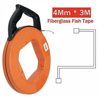 Fiberglass Cable Wire Reel Snake Conduit Duct Rodder Fish Tape Puller 30mx4mm