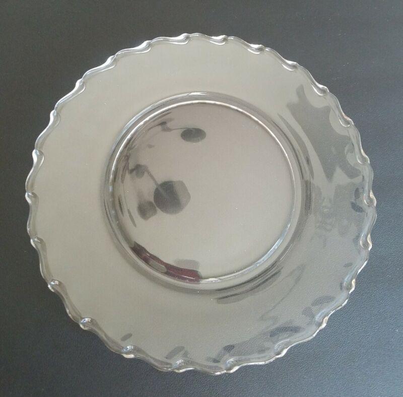 "2 Vintage Crystal Fostoria Century Clear Pressed Glass Dinner Plates 9 1/2"""