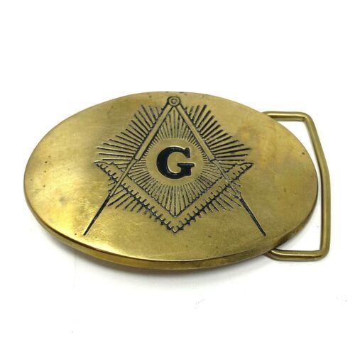 Vintage Masonic Mason Freemasons Sold Brass Belt Baron Buckle Oval Gold Tone