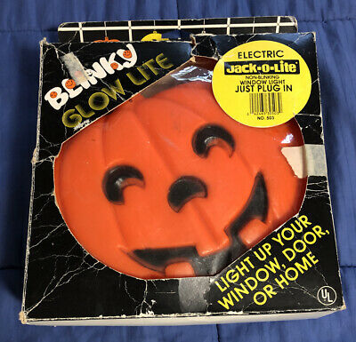 Vintage Blinky Glow Lite Jack O Lantern Pumpkin Light Up Blow Mold Halloween