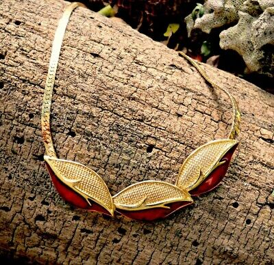 60s -70s Jewelry – Necklaces, Earrings, Rings, Bracelets Trifari gold with red enamel leaf necklace, vintage 1960's bib style $44.00 AT vintagedancer.com