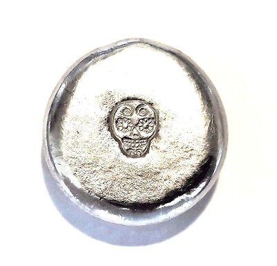 Sugar Skull Male (Male Sugar Skull - 1 Troy Ounce .999 Fine Tin Bullion Round - Grimm)