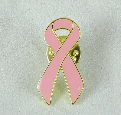 Metal Breast Cancer Awareness USA Pink Ribbon Button, Lapel Pin, Brooch