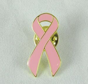 Metal Breast Cancer Awareness USA Pink Ribbon Button, Lapel Pin, Brooch