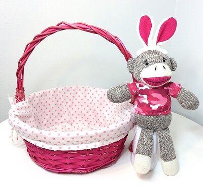 (Bright Pink  Basket & Pink Camo Sock Bunny Monkey Woven Wicker Rattan Lined)