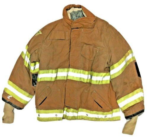 50x36 Janesville Lion Firefighter Rusty Brown Turnout Jacket Yellow Stripe J929