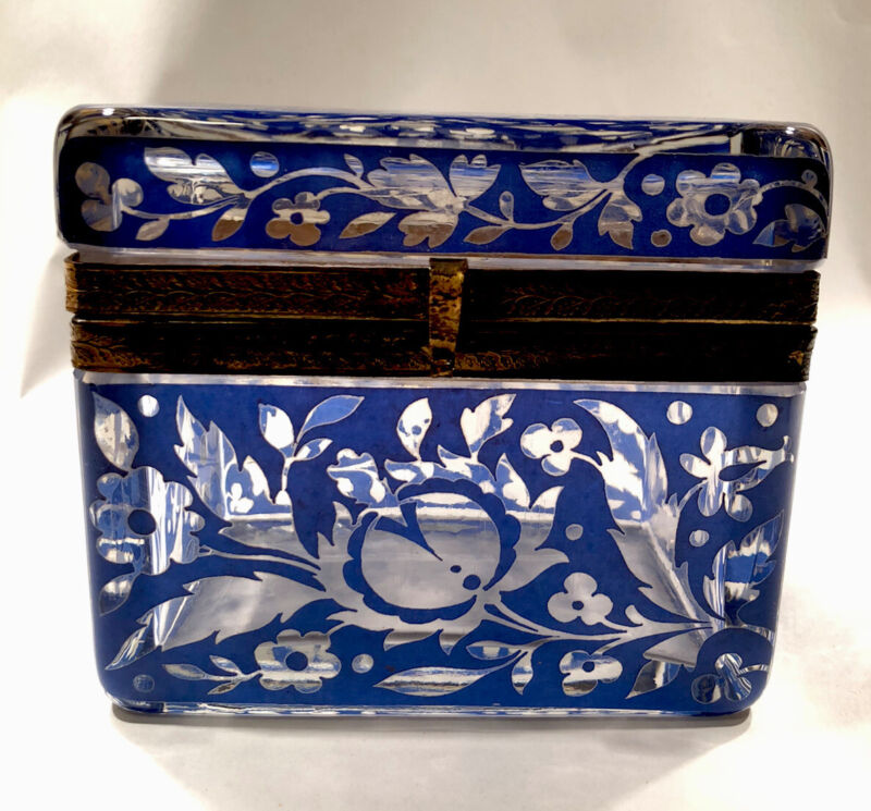 Antique Bohemian Glass Sugar Casket/ Jewelry/Vanity/Trinket Box