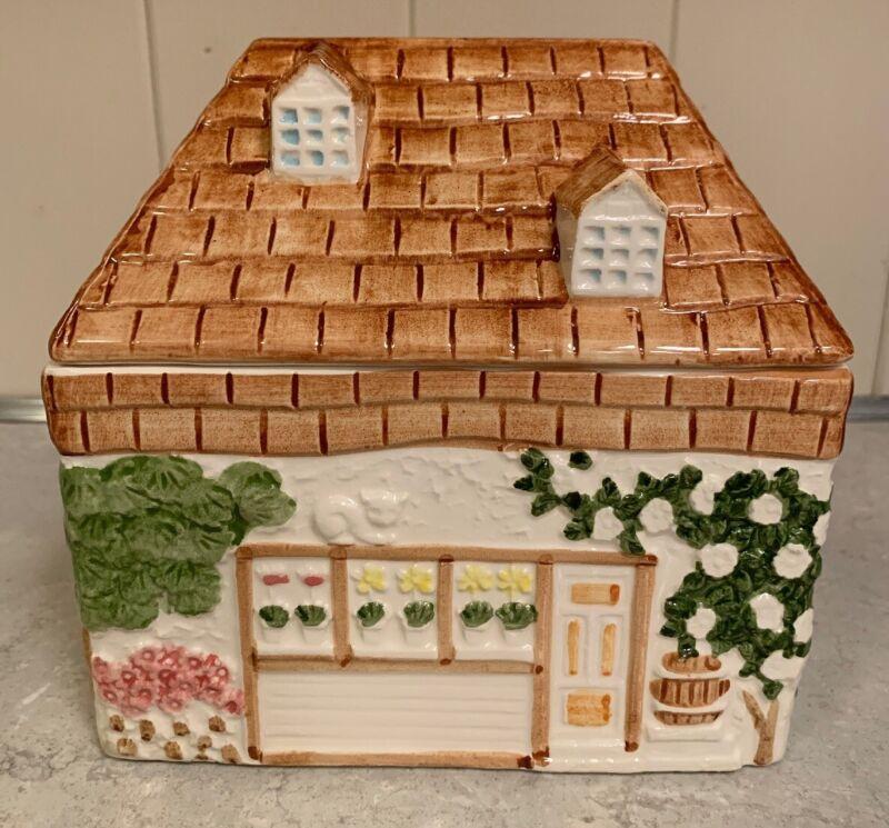 Vintage 1979 Cotswold Cottage Biscuit Cookie Jar Cottage By Shafford Japan