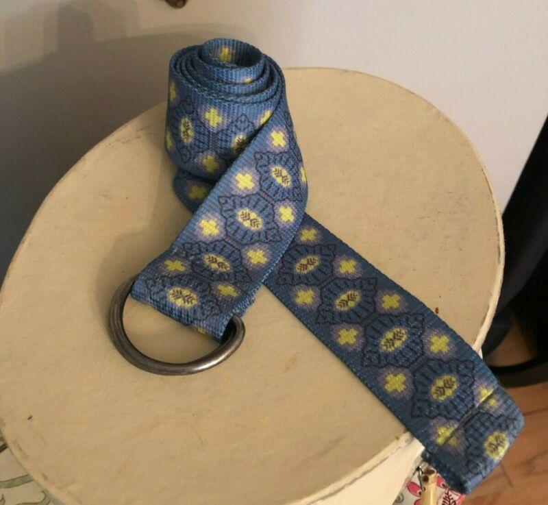 "Prana Belt 42"" Long Blue and Yellow Print"