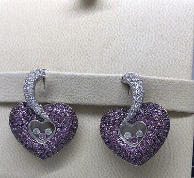 CHOPARD HAPPY DIAMONDS HEART WHITE GOLD EARRINGS 84/4315 NEW!! $48,410 RETAIL!!!
