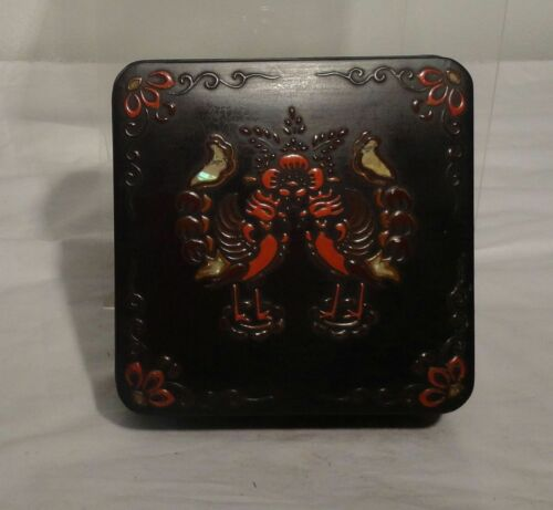 Antique Vintage Chinese Japanese Lacquer Box Phoenix Decoration