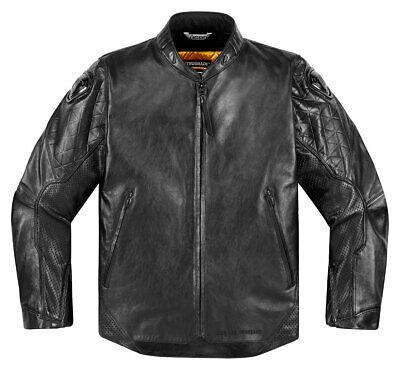 ICON 1000 RETROGRADE Retro Leather Motorcycle Jacket (Black) L (Large)