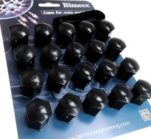 20-x-bulloni-della-ruota-DADI-TAPPO-COPERTURA-NERO-17mm-esagonale-per-vauxhall