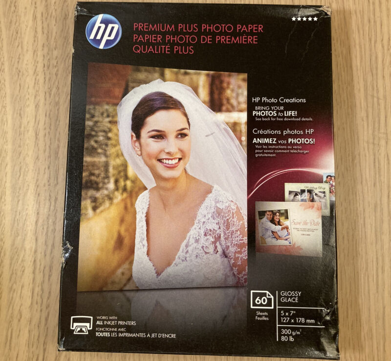Genuine HP Premium Plus Photo Paper Glossy 5 x 7 60 Sheets/Pack CR669A (NEW)