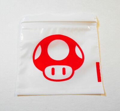 100pcs Ziplock Plastic Bags 2x2 Red Mushroom 1-up Baggies 2020 Mario Theme