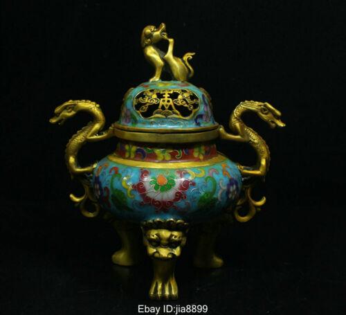 Old Chinese Bronze Cloisonne Enamel Dragon Beast Statue Incense Burner Censer