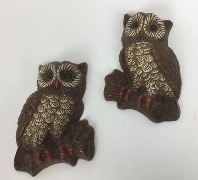 Pair Of Vintage Owls Wall Decor 70s  Wall Hanging HOMCO