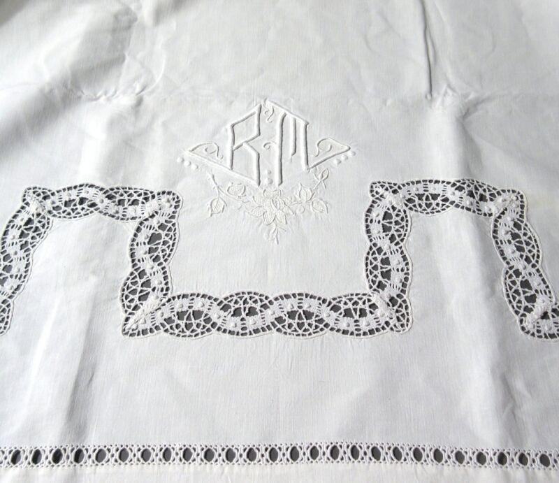"VintageFrench Sheet, Monogrammed""BM"", Embroidered, Lace, Ladderwork,110 x 90"""