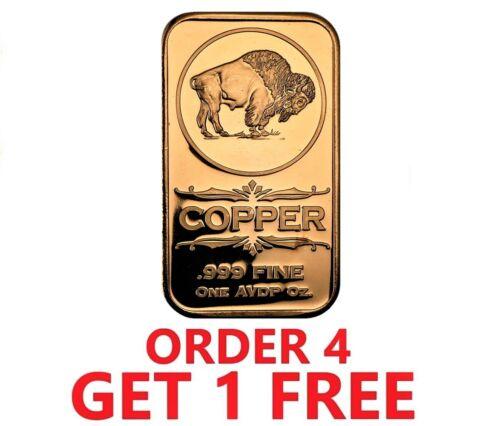 1 Ounce .999 Fine Copper Bar - Buffalo