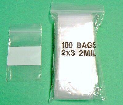 100 2x3 Weiß Block Ziplock Tüte 2mil Beschreibbar Baggies 5.1cmX7.6cm Klein