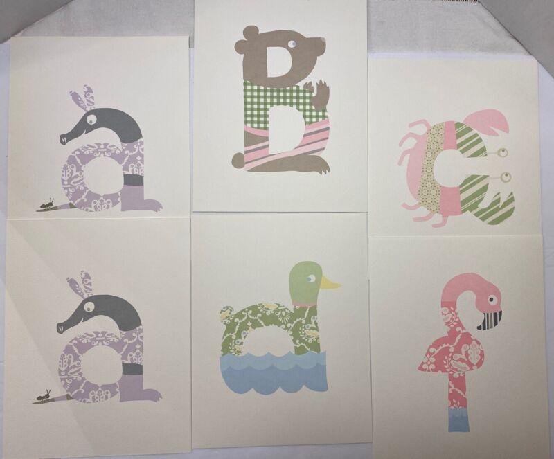 Pottery Barn Kids Animal Alphabet Nursery Wall Letter Prints Baby Incomplete
