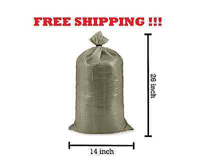 10 Military Polypropylene Sand Bags w/Tie - 26in x 14in O.D. Green free s/h