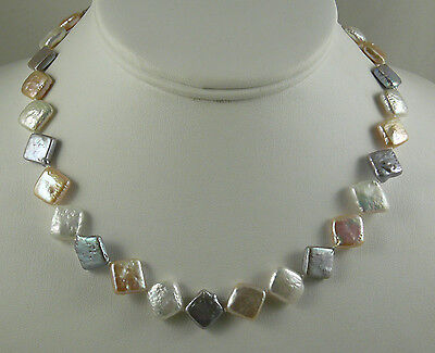 Freshwater Multi-Color Pearl Necklace with Sterling Fish Lock 18 Inches Long