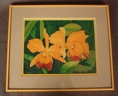 """Orchids"" Framed Watercolor by Roberta Munson"