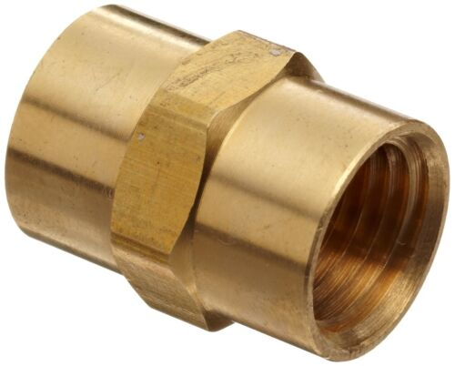 "Solid Brass Hex Pipe Coupling 1/8"" Female NPT  Air Fuel Gas Water"