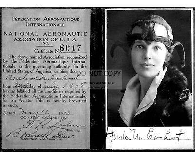 AMELIA EARHART'S PILOT LICENSE FROM 1923 AVIATRIX - 8X10 REPRINT PHOTO (OC007) ()