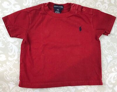 Ralph Lauren Baby Boy 3-6 Months Red T-Shirt Snap Shoulder Preppy Summer Cotton