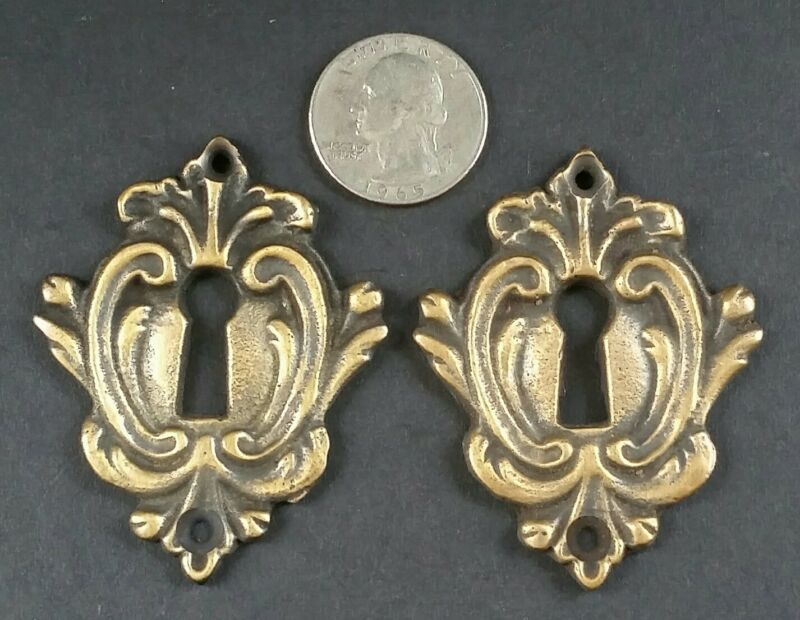 """2 Rare Antique Style French Eschutcheons Key Hole Covers 2 1/4"""" jewelry part #E9"""