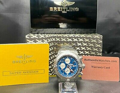 Breitling Super Avenger A13370 Automatic SS Chronograph Blue Dial Watch
