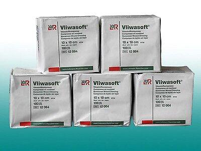 5 x 100 Vliwasoft Weiche Vliesstoffkompressen Unsteril 10x10cm Sparpack von L&R