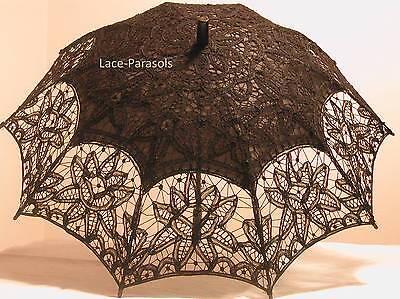 BLACK Battenberg Lace Parasol - Stunning! ](Black Parasol)