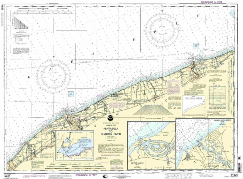 NOAA Chart Ashtabula to Chagrin River;Mentor Harbor;Chagrin River 25th Edition