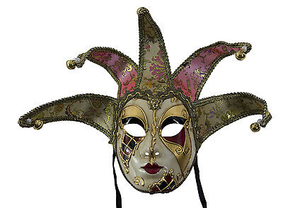 Mask from Venice Volto Jolly Checkerboard Red Golden in 5 Spikes -disguise -