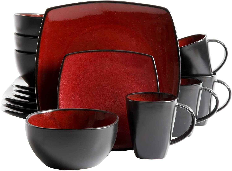 Soho Lounge 16-Piece Square Reactive Glaze Dinnerware Set, R