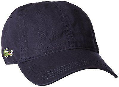 NEW LACOSTE MEN'S PREMIUM COTTON CROC LOGO BASEBALL ADJUSTABLE HAT CAP NAVY BLUE