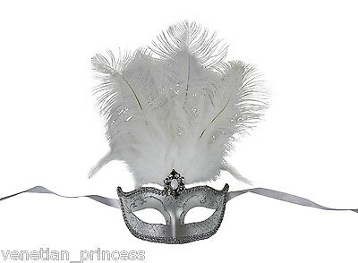 Gorgeous Silver Venetian Masquerade Mask with Feathers Mardi Gras - Masquerade Mask With Feathers