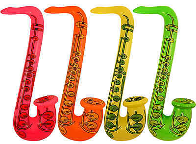INFLATABLE SAXOPHONE saxaphone Blow Up 75cm Yellow, Green, Pink or Orange