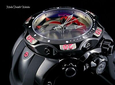 NEW 52MM Invicta Reserve VENOM BULLDOG SWISS Quartz Red & Black Dial Strap Watch