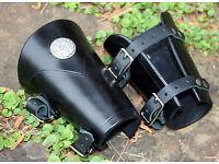 pair Iron Cross Bracers Arm Armor Harley Black Studded Biker Leather Cuffs