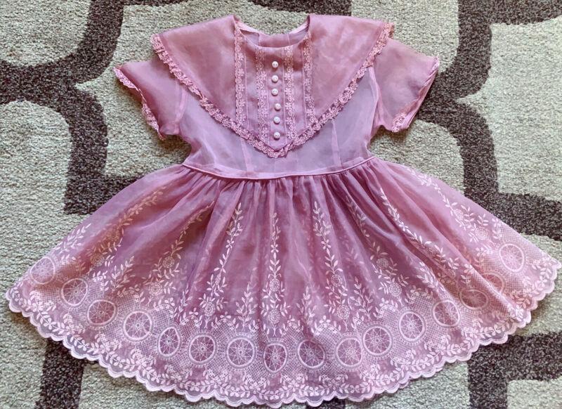 Vintage girls flock printing sheer dress