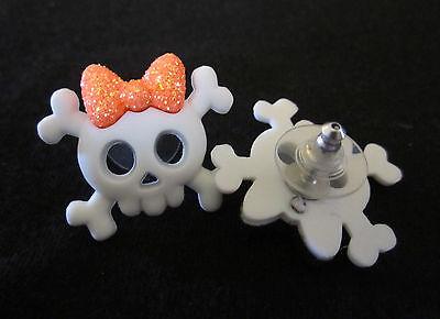 Sugar Skull Earrings (Sugar Skull Skullette Earrings-White Skull Orange Bow-Hypoallergenic Post)