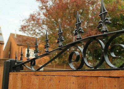 Curved Wrought iron fence panel security spikes / decorative railings